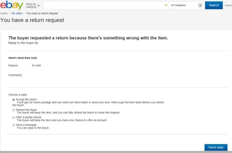 ebay 返品リクエスト
