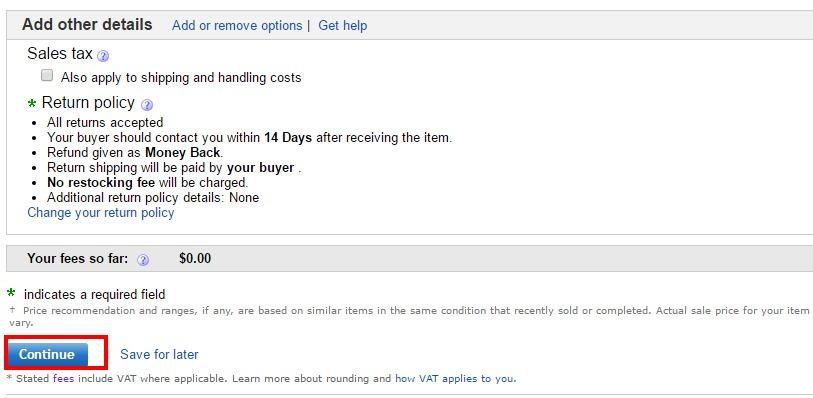 eBay リターンポリシー