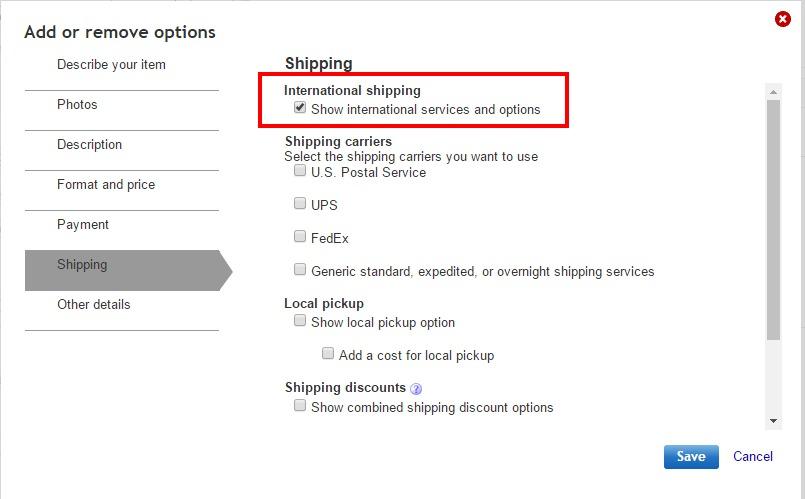 eBay 国際設定