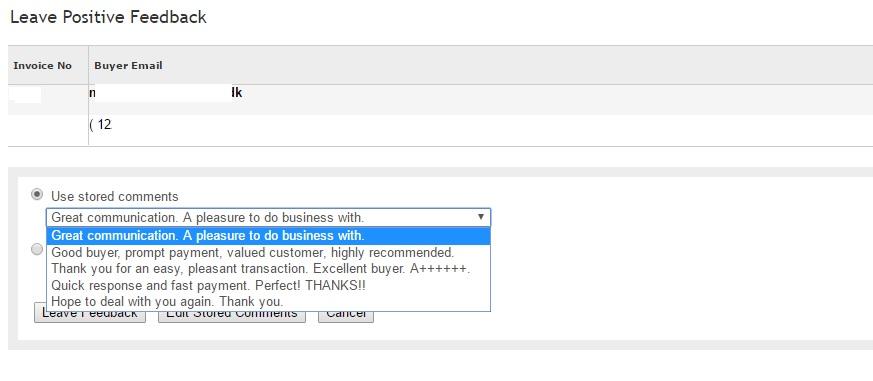 ebayでフィードバックを残す
