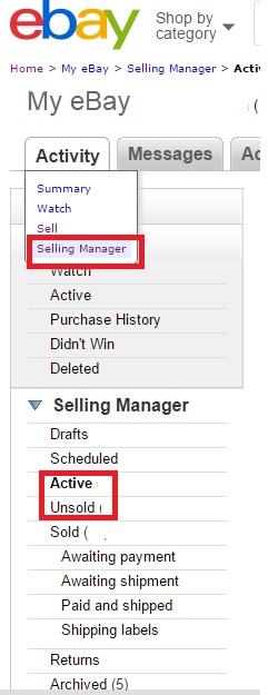 ebayのカテゴリー設定