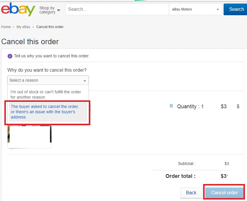 ebay キャンセル